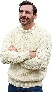 Mens Irish Wool Sweater, 100% Real Irish Wool, Traditional Knit Pattern, Natural
