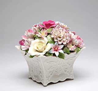 Cosmos Gifts 80085 Fine Porcelain Flower Bouquet with Music Box Figurine (Music Tune: Edelweiss), 5-1/2