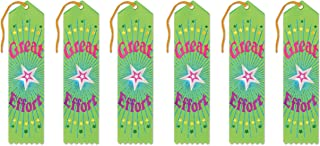 Beistle Great Effort Award Ribbons, 2 by 8-Inch, 6-Pack