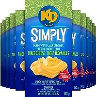 Kraft Dinner Simply Macaroni & Cheese - Three Cheese Made With Cauliflower ,150 g (Pack of 12)