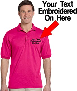 Custom Text Embroidered Jersey Polo, Dry Blend Polo Shirt