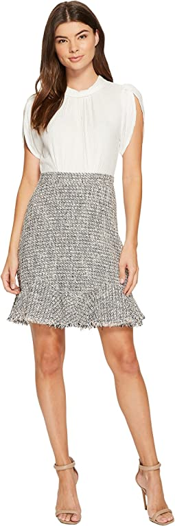 Rebecca Taylor - Sleeveless Silk & Tweed Dress