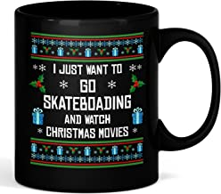 I Just Want To Go Skateboarding 11 oz Black Mug - Unique Christmas Ceramic Coffee Cup And Present For Sports Fans - Perfect Xmas Surprise Gift For Men, Women, Boys And Girls