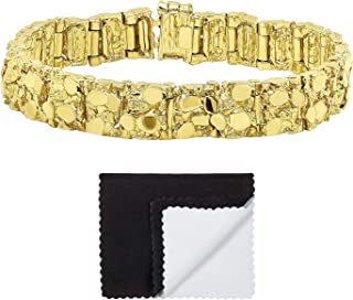 Thick 12.5mm 14k Gold Plated Chunky Nugget Textured Link Bracelet + Microfiber Jewelry Polishing Cloth