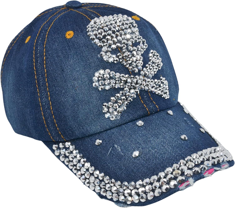 Popfizzy Women's Distressed Rhinestone Bejeweled Cotton Baseball Hat Sparkle Bling Cap (Skull & Crossbones)