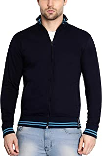 AWG Men's Navy Blue High Neck Sweatshirt/Jacket with Zip - Navy Blue