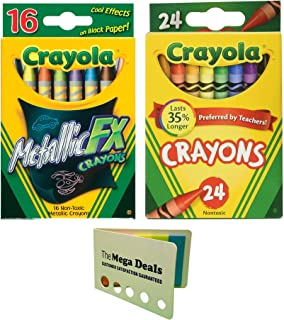 Crayola Crayons, 24 Count | Metallic FX Crayons, 16 Count | Includes 5 Color Flag Set