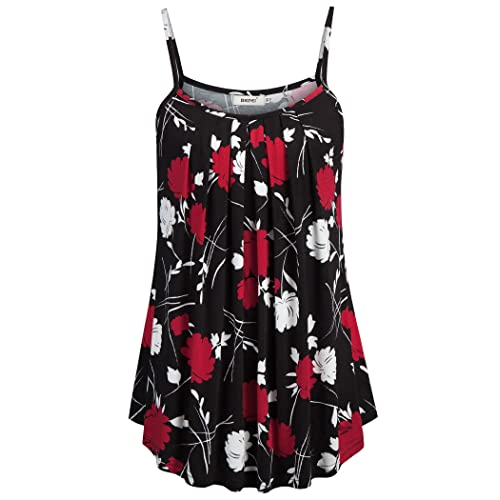 8ae1a4fcd8 BEPEI Women Loose Casual Summer Pleated Flowy Sleeveless Camisole Tank Tops