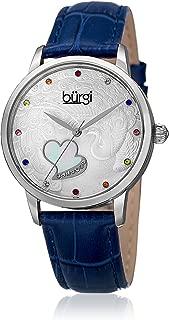 Burgi Womens Quartz Watch, Analog Display and Leather Strap