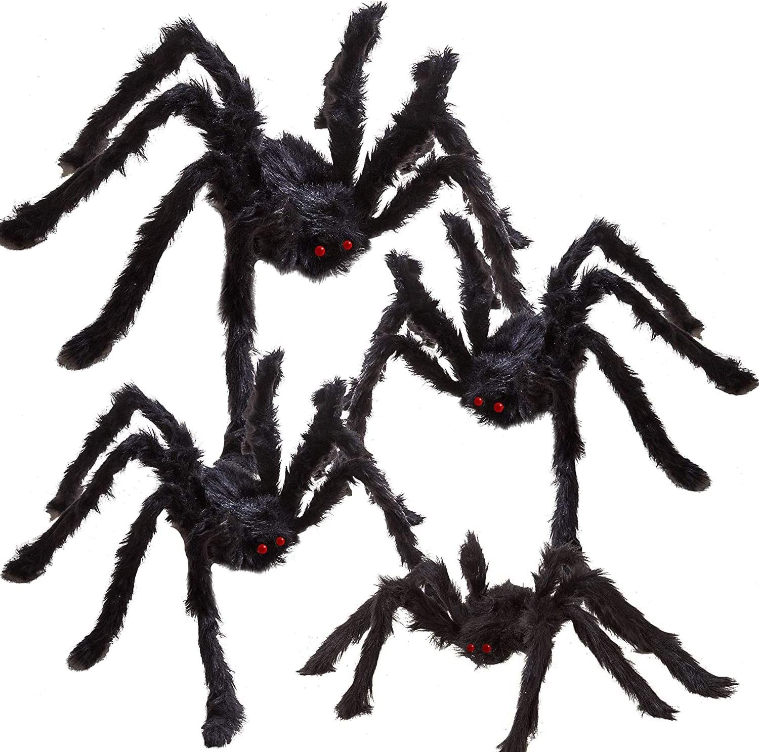 REDSTORM Halloween Spider Decoration Black Simulation 60 Inches Giant Scary Hairy Spider for Halloween Outdoor or Indoor Decoration 1 PCS Black Spider