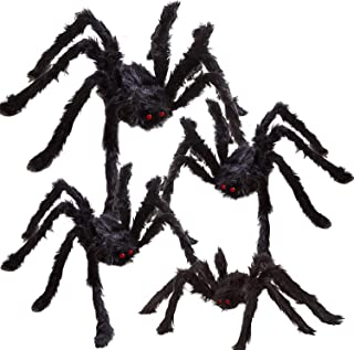REDSTORM Halloween Spider Decoration Black Simulation 12,20,24,30 Inches Giant Scary Hairy Spider Set for Halloween Outdoo...