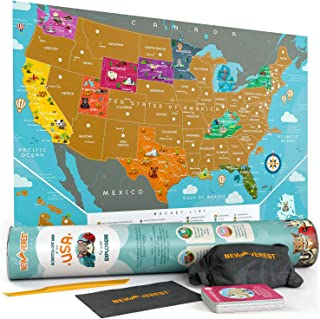 Newverest Scratch Off Map of The USA - for Kids & Adults, Premium Travel Map Poster Fits 17 x 24 inches Frame - with 50 Animal Cards, Scratch Tools, Storage Bag & Gift Tube