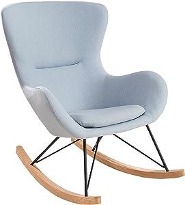 Design Schaukelstuhl SCANDINAVIA SWING Stoff hellblau Schaukelsessel Sessel Stuhl Wohnzimmersessel