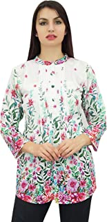 Phagun Womens Floral Printed Full Sleeve Casual Tunic Top Blouse Shirt