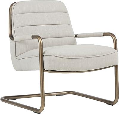 Sunpan Modern Sunpan Lincoln Lounge Rustic Bronze-Beige Linen Fabric Chair