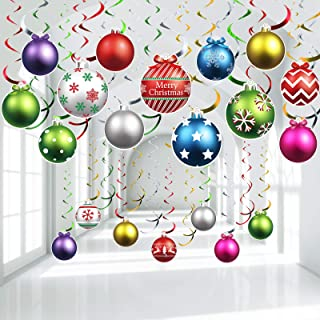 30 Pieces Christmas Light Bulb Hanging Swirls Christmas Ball Foil Swirls Hanging Ceiling Decorations for Indoor Outdoor Ch...