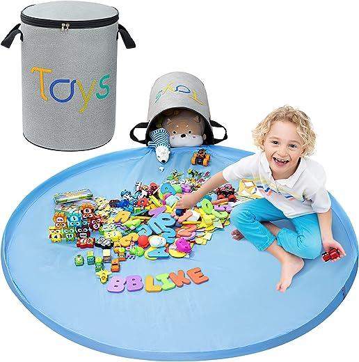 BBLIKE Kinder Aufräumsack Spieldecke 45x30cm Kinder Aufbewahrungkorb XL mit dem Reißverschluss und Tragegriff Spielzeug Beutel Spielzeugsack…