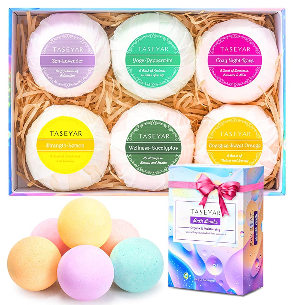 Bath Bombs Gift Set, TASEYAR Lush Natural Bubble Fizzies Spa Kit With Shea Butter & Essential Oils for Dry Skin, 6 x 4.0 oz, Birthday Gifts for Women, Mom, Wife, Girlfriend, Kids