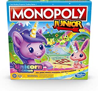 Monopoly Junior: Unicorn Edition Board Game for 2-4 Players, Magical-Themed Indoor Game For Kids Ages 5 and Up (Amazon Exc...
