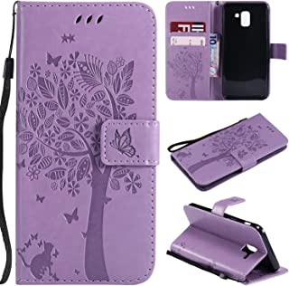 Galaxy J6 2018 Case, Lacass Cat Tree Pattern PU Leather Flip Wallet Case Cover Kickstand with Card Slots and Wrist Strap for Samsung Galaxy J6 (2018) - Lavender