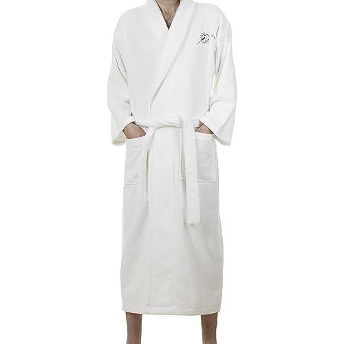 Whisper Organics 100% Organic Cotton Men's and Women's Bathrobe - GOTS Certified (Medium, White)