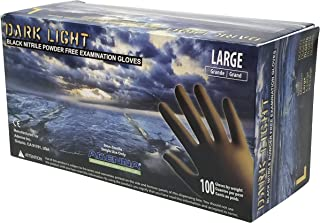 Adenna Dark Light 9 mil Nitrile Powder Free Exam Gloves (Black), Large - Box of 100
