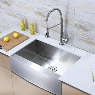 Luxier AFS30-18Z 30 Inch Farmhouse Apron Single Bowl 18 Gauge Stainless Steel Kitchen Sink