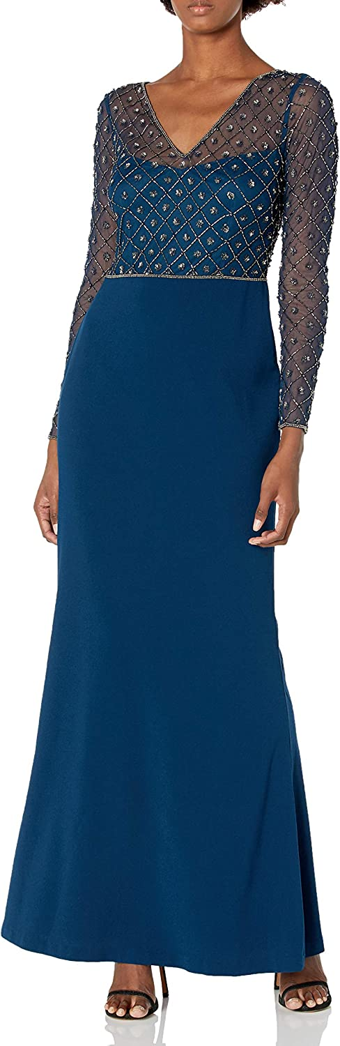 Adrianna Papell Women's Long Sleeve Illusion V Neck Stretch Crepe Mermaid Gown Dress