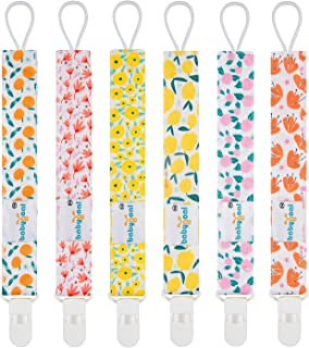 Babygoal Pacifier Clips for Girls, 6 Pack Pacifier Holder Fits Most Pacifier Styles &Teething Toys and Baby Shower Gift 6PS14
