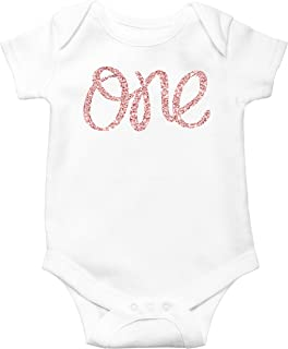 1st Birthday Onesie Girl Glitter Bodysuit Rose Gold, Pink, Purple, Red, Silver for Baby Girl 1st Birthday