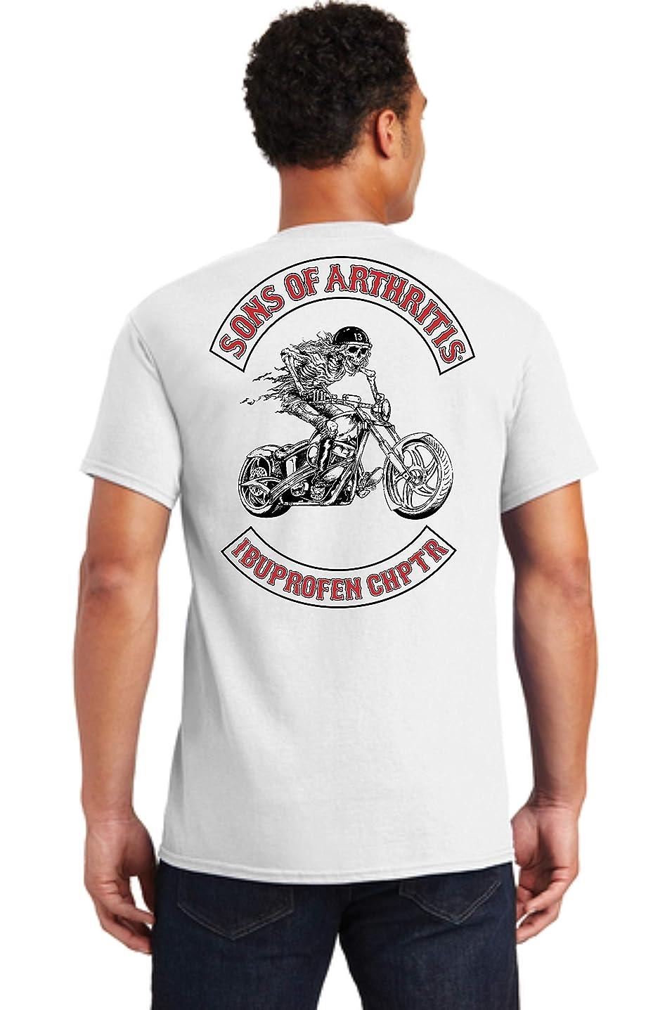 Sons of Arthritis Mens Ibuprofen Chapter Short Sleeve white T-Shirt