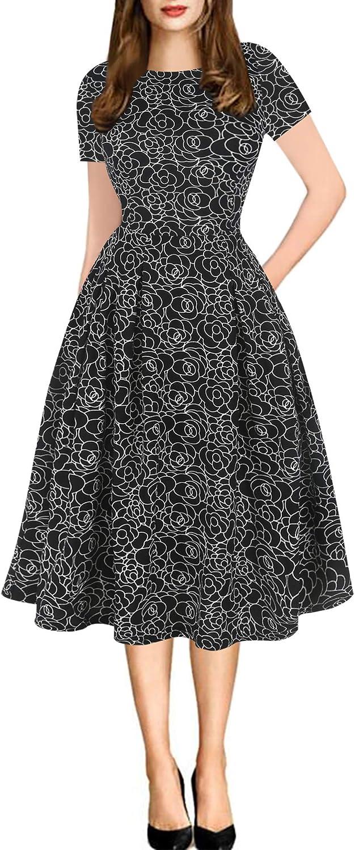 Sakaly Women's Patchwork Polka Dot Floral Pockets Short Sleeve Swing Work Party Cocktail Dress SK165