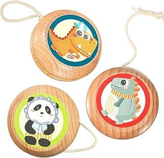 Sumind 3 Pieces Beginner Yo-Yo Classic Yo-Yo Crocodile Panda Dinosaur Wooden Yoyo Dual-Sided Full Color Artwork for Christ...