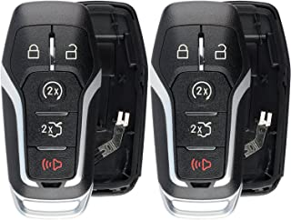 KeylessOption Keyless Entry Remote Smart Key Fob Shell Case Button Pad Cover For Ford Fusion Mustang Edge (Pack of 2)
