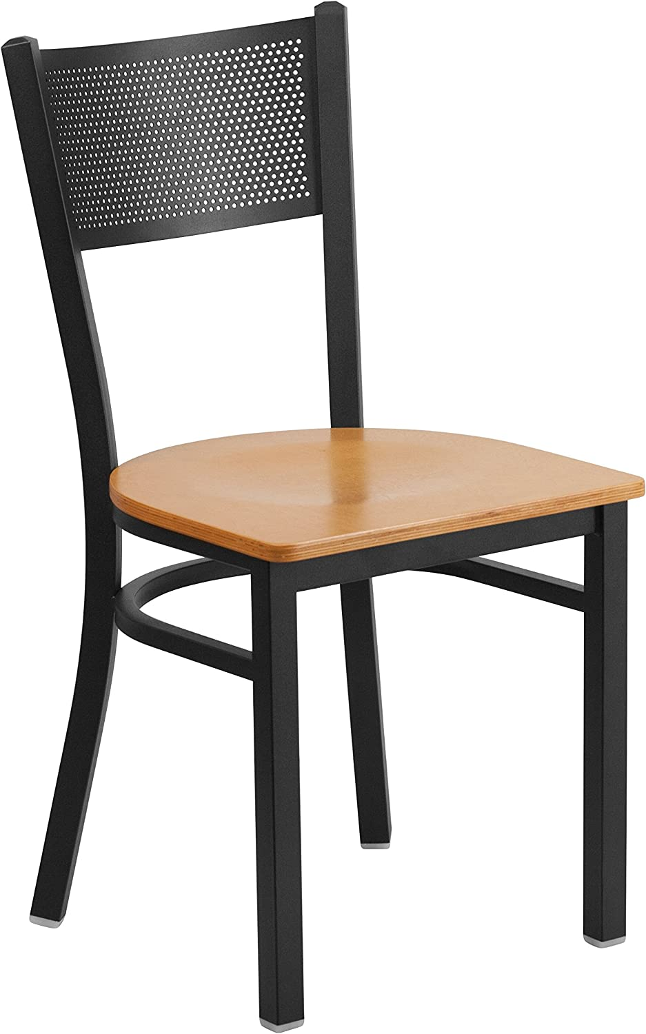 Flash Furniture HERCULES Series Black Grid Back Metal Restaurant Chair - Natural Wood Seat [XU-DG-60115-GRD-NATW-GG]