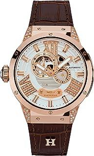Haemmer - HÆMMER GL-400 - Reloj de pulsera analógico automático para mujer con correa de piel de becerro