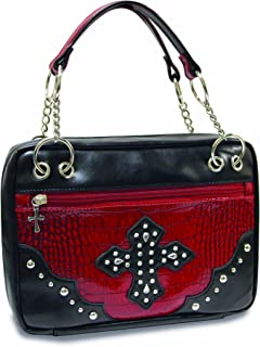 Divinity Boutique Bible Cover Black with Red Croc, Extra Large (22466)