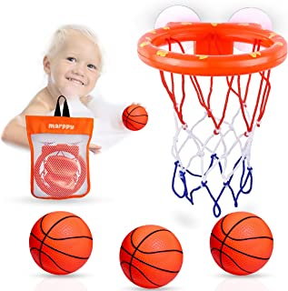 MARPPY Bath Toys, Bathtub Basketball Hoop for Toddlers Kids, Boys and Girls with 3 Soft Balls Set & Strong Suction Cup, Ba...