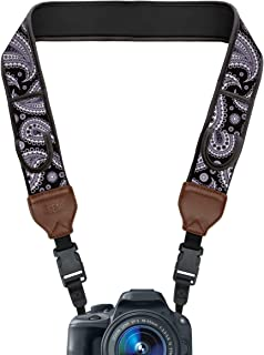 USA GEAR TrueSHOT Camera Strap with Black Paisley Neoprene Design, Accessory Pockets and Quick Release Buckles - Compatible with Canon, Nikon, Sony and More DSLR and Mirrorless Cameras