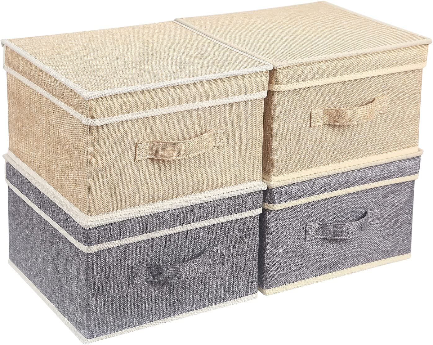 BrilliantJo Cajas de Almacenamiento con Tapas, Juego de 4 cestas de Almacenamiento de Ropa Plegables con asa para Juguetes Libros Armario Dormitorio casa 31,5 * 30,5 * 17 cm(2 Beige+2 Gris)