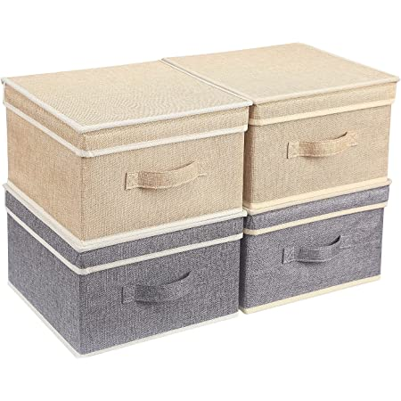 BrilliantJo Boîtes de Rangement avec Couvercle, Panier de Rangement Pliable pour Vêtements Jouets Livres Placard Chambre à Coucher Maison 31,5 * 30,5 * 17 cm Beige+Gris