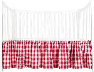 Tadpoles Crib Skirt Red//Blue Lady Bug Dobby Gingham
