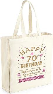 Bolsa de lona de algodón de 70 cumpleaños - Para mujer - Como regalo, recuerdo o para hacer la compra - Natural - 33 x 42 x 19cm
