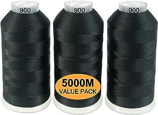 New brothread 3er Set Schwarz Farben Polyester Maschinen Stickgarn Riesige Spule 5000M für alle Stickmaschine