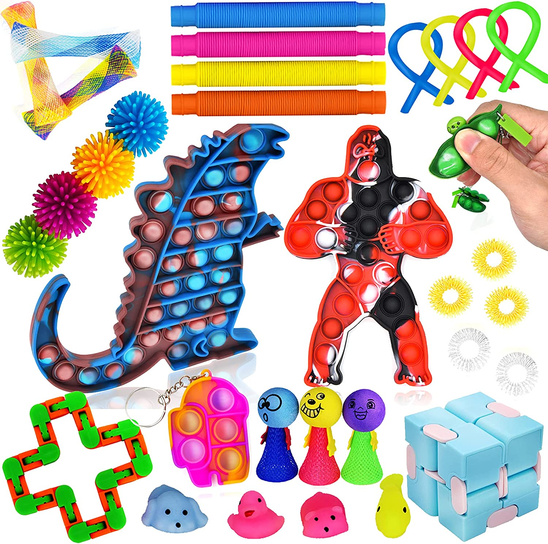 FLYKISS 34pcs Fidget Toys Max 70% OFF Large-scale sale Set Sensory T Anti-Anxiety