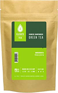 Elevate Tea CHINESE GUNPOWDER GREEN TEA, Loose Leaf Tea Blend, 30 servings, 3 Ounce Pouch, Caffeine Level: Medium, Single ...