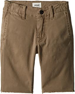 Hudson Kids - Raw Hem Sateen Chino Shorts in Dark Chino (Toddler/Little Kids/Big Kids)