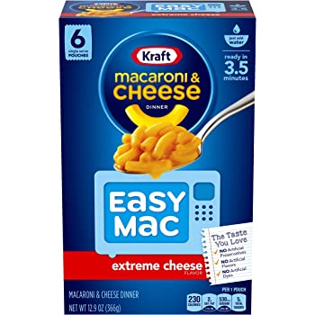 Kraft Easy Mac Extreme Cheese Flavor Macaroni and Cheese Meal (48 Pouches, 8 Packs of 6)