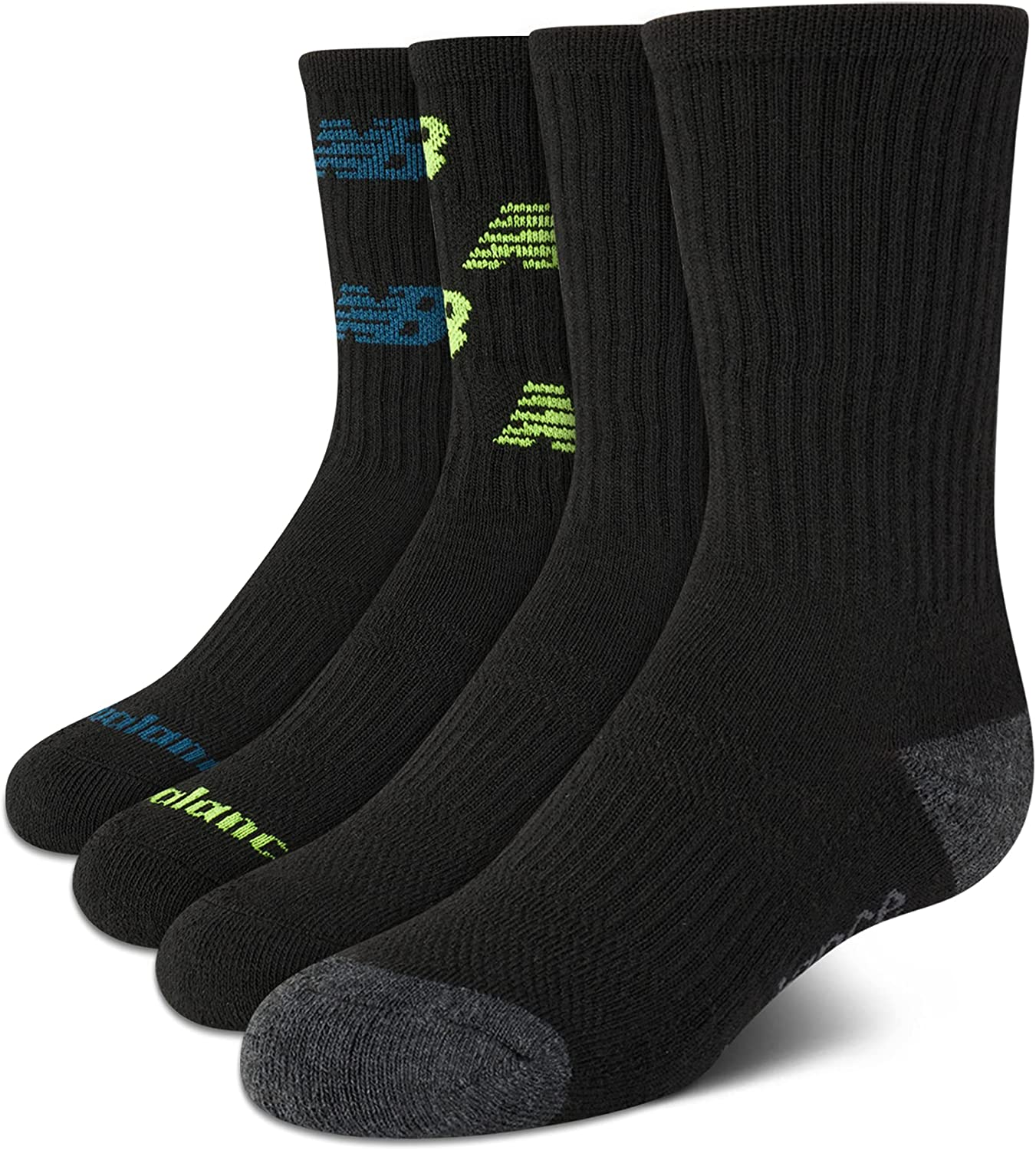 New Balance Boys' Cushioned Crew Socks with Reinforced Heel and Toe (4 Pack), Black, Medium/Little Kid/ Shoe Size: 8.5-2