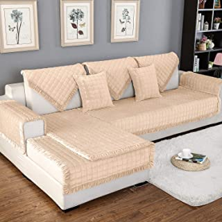 OstepDecor Couch Cover, Sofa Cover, Quilted Sectional Couch Covers, Velvet Sofa Slipcover for Dogs Cats Pet Love Seat Recliner Leather L Shaped, Armrest Backrest Cover, Beige 28 x 59 Inches